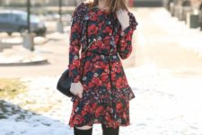 07 a red floral knee dress with black tall boots and a black bag for a feminine feel