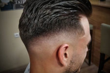 07 such a mid top fade haircut looks flawless with thick brush back hair and a cool edge