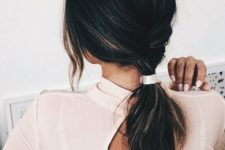 cute low ponytail hairstyle