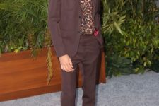 08 a dapper look with a chocolate brown suit, red shoes and a printed shirt for a more formal date
