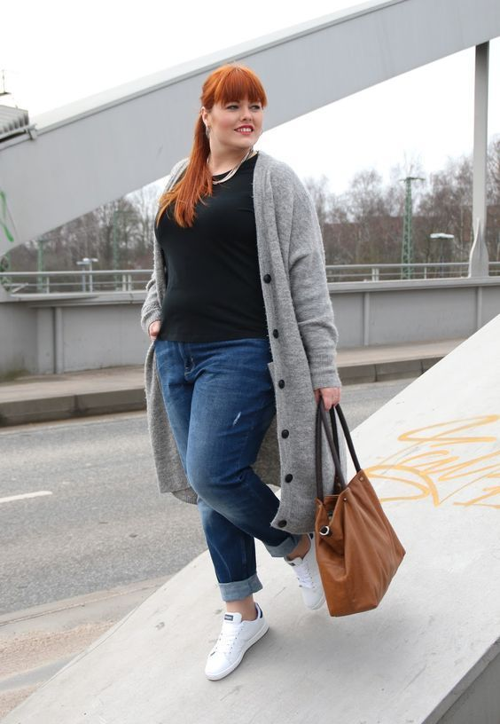 a black top, blue jeans, a grey long cardigan that you may take off any time and white sneakers