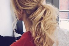 09 a complicated ponytail with a messy bump and wavy hair down can be worn to work and then to a date