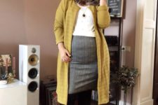 09 a grey plaid knee skirt, a white pearl top, a long mustard cardigna, black tights and booties