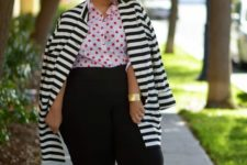 09 a whimsy look with a polka dot shirt, a striped coat, navy pants, nude flats and a statement bracelet