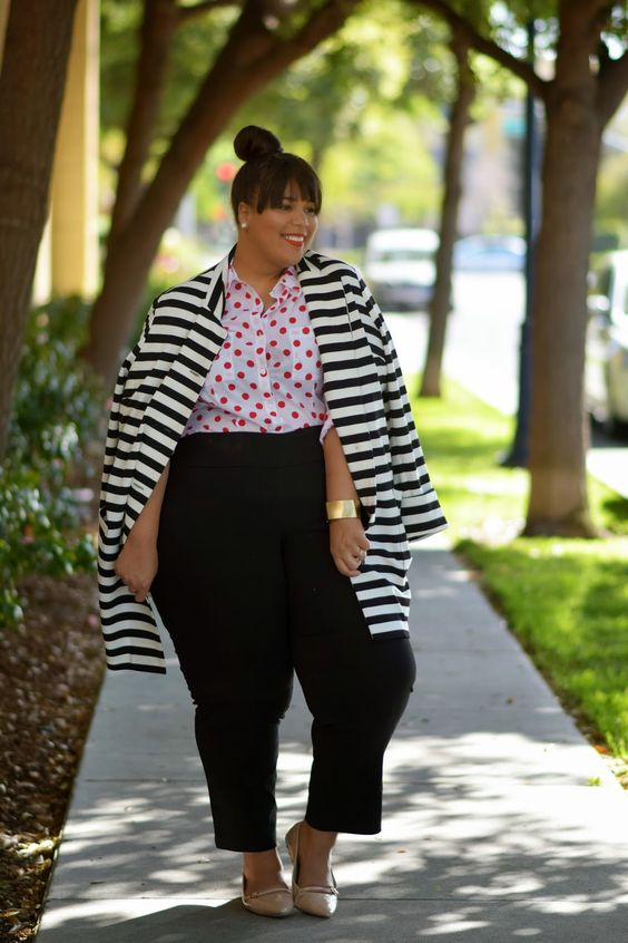 a whimsy look with a polka dot shirt, a striped coat, navy pants, nude flats and a statement bracelet