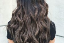 09 black long locks with ashy brown balayage is a catchy and interesting idea