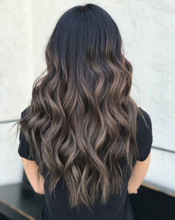 black long locks with ashy brown balayage is a catchy and interesting idea