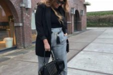 10 a black turtleneck, a black short coat, black sock boots and grey paid cropped pants can be worn to work