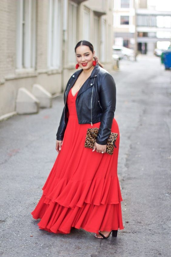 a bold look with a red spaghetti strap maxi dress with ruffles, a black leather jacket, black shoes and red earrings