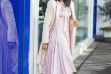 10 a chic light pink dress with a high neckline and a pleated skirt, blush heels and a creamy coat