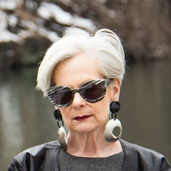 a chic long pixie haircut in icy blonde is a gorgeous idea for a mature lady