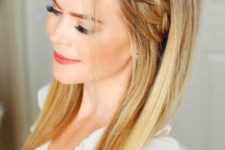 10 a cute hairstyle for long hair with a side braided halo and soem bangs for a relaxed feel
