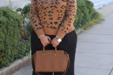 10 black culottes, a white shirt, an animal print sweater, creamy shoes and a camel bag