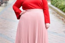 11 a chic look with a red long sleeve top with lacing up, a blush pleated midi and nude heels