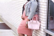 11 a pink midi dress, a leather jacket, white booties and a pink bag for spring casual
