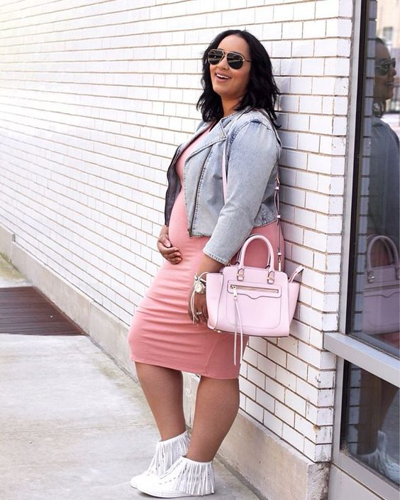 a pink midi dress, a leather jacket, white booties and a pink bag for spring casual