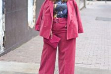 11 a pink velvet suit will keep you warm and suits are super trendy, add a bright top to your look