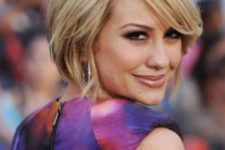 11 a short bob haircut with layers, side bangs and blonde balayage is modenr classics