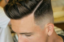 11 a short quiff with a mid fade works well and gives and option to add a hard part