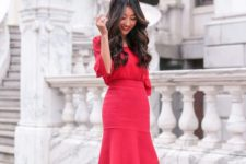12 a cool red outfit with a fit and flare skirt, a red long sleeve top and nude heels