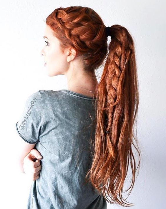 a gorgeous high ponytail with a braid plus a braided halo for a boho feel