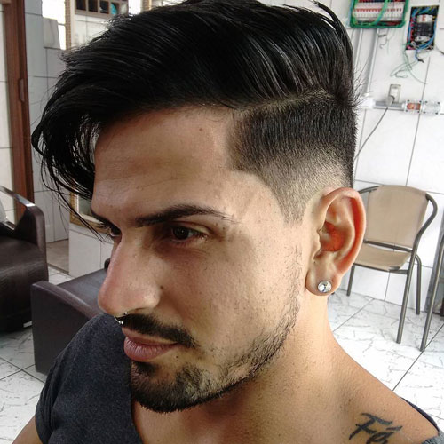 a super stylish long comb over plus a mid fade cut and a beard makes up a very trendy look