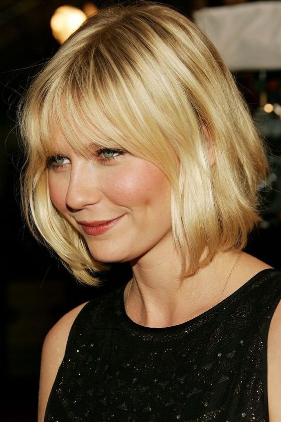 a short bob with brief razored layers styled with a bit of flick
