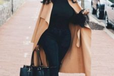 13 black skinnies, a black turtleneck, black and gold ankle strap shoes, a tan poncho and a comfy bag