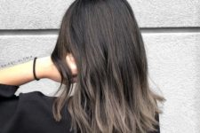 13 rich brown long bob with an ombre effect to ashy brown is a bold and modern option