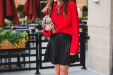 14 a pleated over the knee black skirt, a red sweater, leopard shoes and a clutch for a more casual feel