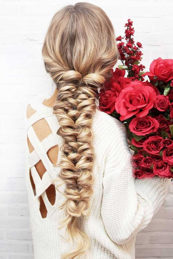 a super dimensional twisted long braid with waves is a great idea if you have long hair