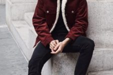 14 black jeans and a t-shirt, plum-colored boots and a burgundy coat with white fur for a casual look