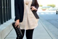 14 black skinnies, a neutral shirt, a black blazer, nude shoes and a statement necklace plus a clutch