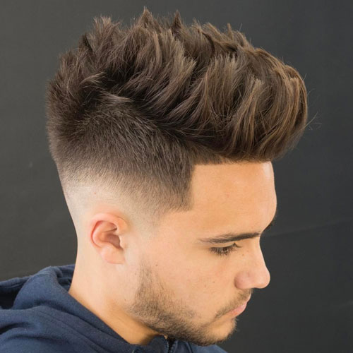 if you like longer hair, prefer texture spiky hair and a medium fade like here