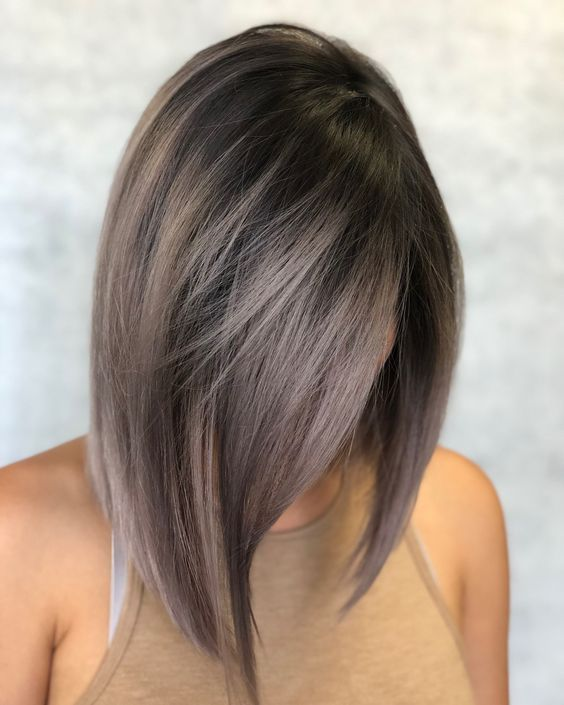 rich brown long bob with ashy brown balayage is a trendy way to rock your locks right now