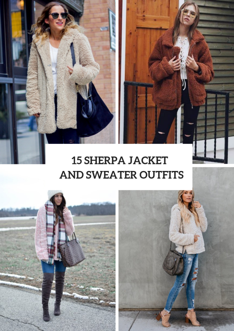 15 Cozy Outfits With Sherpa Jackets And Sweaters