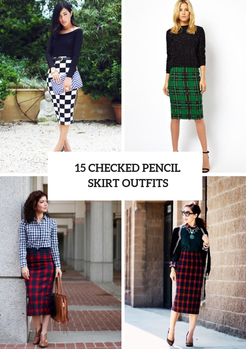 Elegant Outfit Ideas With Checked Pencil Skirts