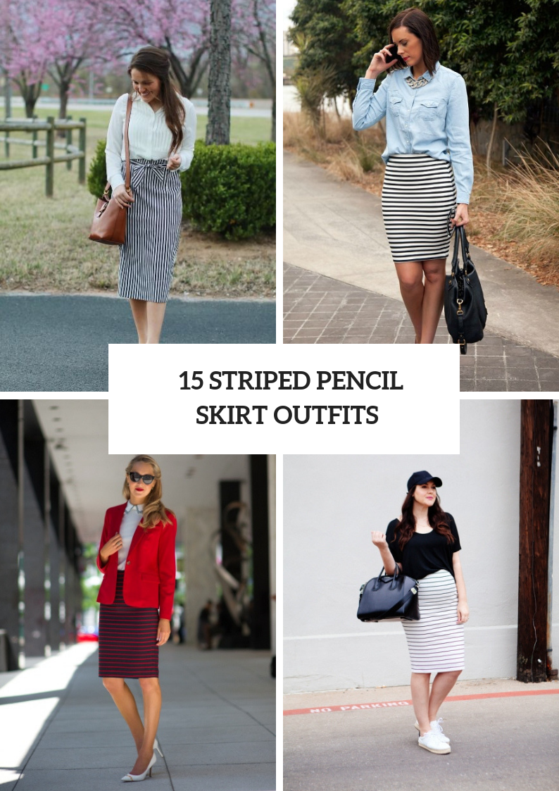 Spring Outfits With Striped Pencil Skirts