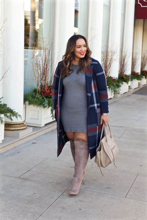 a grey sweater dress, taupe suede over the knee boots, a plaid navy coat and a neutral bag