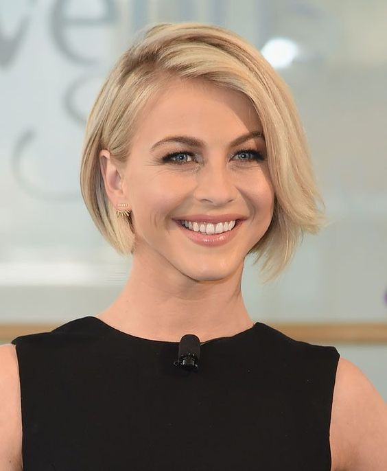 a simple short bob haircut can be styled in various ways - with mid parting, side parting and so on