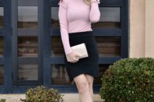 15 a tender look with a black asymmetrical skirt, a pink long sleeve top with ruffled sleeves and nude spiked shoes