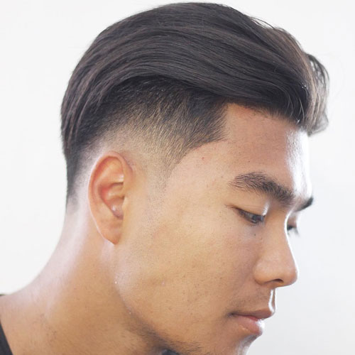 an undercut fade, a slicked back plsu edge up looks modern and catchy while being rather long
