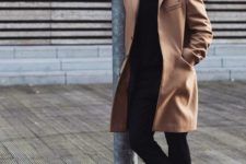 15 go casual classics with black pants and a top, with white sneakers and a camel coat