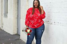 a casual Valentine's Day look for a curvy girl infused with red