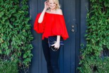 16 black skinnies, a red off the shoulder top, strappy high heels for a statement look