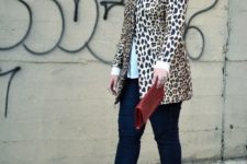 16 navy skinnies, a white shirt, a leopard short clutch, nude wedges and a red clutch