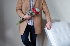 16 navy skinnies, white sneakers, a plaid shirt and a short camel coat for a casual look