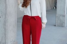 16 wideleg red pants, a white blouse with black detailing are perfect for work and proper for a date