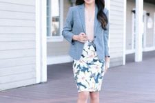 With beige top, gray blazer and pale pink pumps
