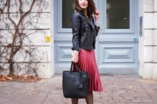 cute spring look with a satin skirt and a leather jacket